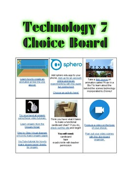 Junior and Senior School Technology or STEM Choice Board (17 options with links)