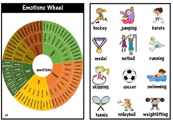 Junior picture dictionary with adjective word wheels