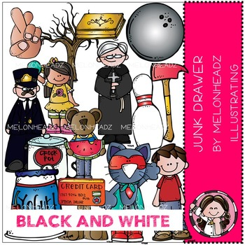 Melonheadz: Junk Drawer clip art - BLACK AND WHITE