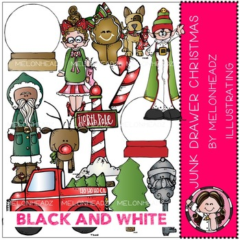 Junk Drawer clip art - Christmas - BLACK AND WHITE- by Melonheadz