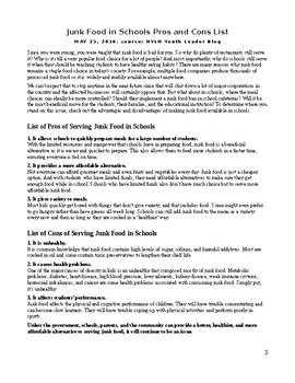 Junk Food Essay Packet - Super Scaffolded