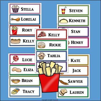 Junk Foods Name Tags - Editable