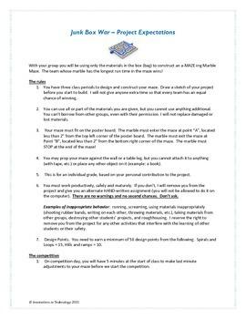 """Junkbox Wars"" Marble Maze Project - Engineering Design Process"
