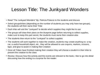 Junkyard Wonders activities and lesson plan