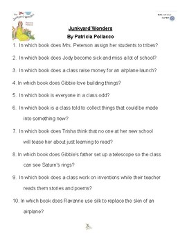 Junkyard Wonders by Patricia Pollacco, Battle of the Books Questions