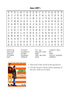 Juno Word Search Puzzle and Summary Activity