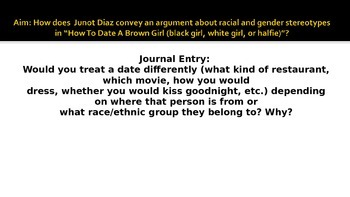 """Junot Diaz """"How to Date a Brown Girl"""""""