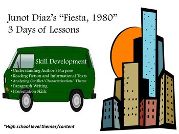 """Junot Diaz's """"Fiesta, 1980"""" (from Drown):3 Days of CCSS-Aligned Plans/Materials"""