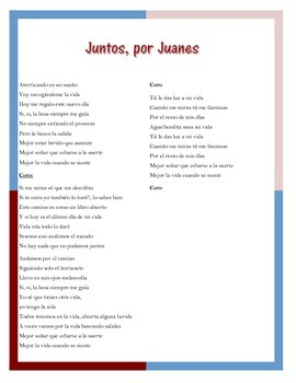 Juntos by Juanes Lyics and Cloze Activity