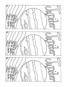 Jupiter Bookmark Printable Coloring Page PDF Solar System