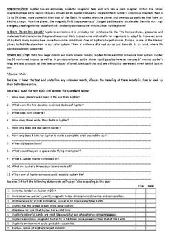 Jupiter - Fly with NASA's Juno Mission / Reading Comprehension Worksheet