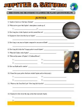 Jupiter / Saturn - Space Planets Webquest