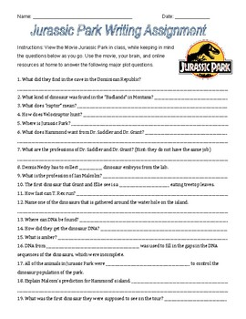 Jurassic Park Movie Questions Worksheets & Teaching ...