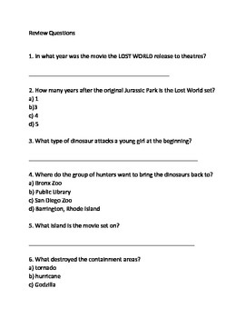 Jurassic Park 2 Lost World - Movie overview Lesson article questions vocabulary