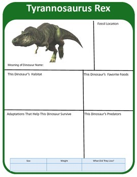 Jurassic Park Dinosaur Research Template by Science Teacher Pro | TpT