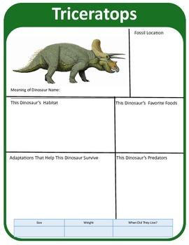 Jurassic Park Dinosaur Research Template