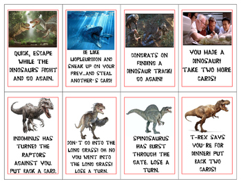 Jurassic Park Easy Subtraction Card Game