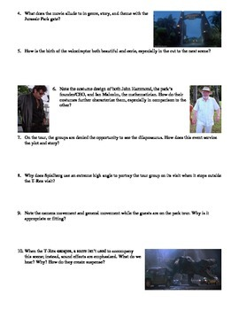 Jurassic Park Film (1993) Study Guide Movie Packet