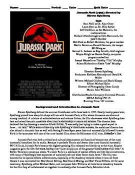 Jurassic Park Film (1993) Study Guide Movie Packet