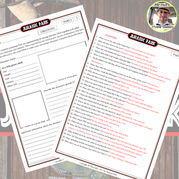 Jurassic Park Movie Guide Activities Answer Key Inc Tpt