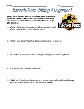Jurassic Park: Movie Guide, Writing Assignment