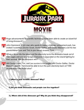 jurassic park movie worksheet by esl kidz teachers pay teachers. Black Bedroom Furniture Sets. Home Design Ideas