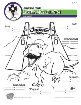 Jurassic Park (John Williams)   Music Listening Glyph (Digital Print)