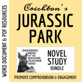 Jurassic Park Novel Study Bundle (Lit Circle Docs, Quizzes, Culminating Project)