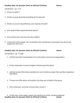 Jurassic Park Reading Quizzes