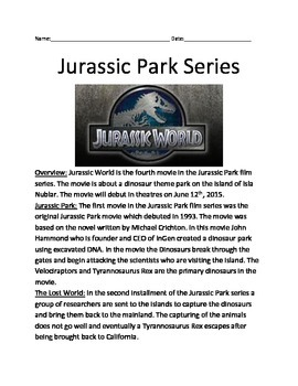 Jurassic Park World - Overview of all 4 movies - facts questions vocab lesson