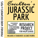 Jurassic Park by Michael Crichton - Research Project Materials & Rubric