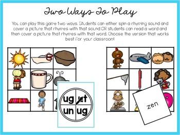 Just A Dollar- Rhyming Words Bingo Game