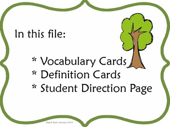 Just A Dream - Vocabulary Matching Game - Common Core