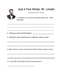 Just A Few Words, Mr. Lincoln (Comprehension packet)
