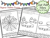 Addition Picture Problems - Just Add More - Cut and Paste (20 Worksheets)