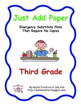 Just Add Paper - Third Grade Emergency Sub Plans