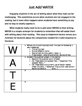 Just Add WATER  (Simple Strategy for TDA, DBQ, Constructed Response...)