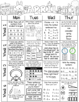 Just Add a Spiral Notebook: April Kindergarten Homework -