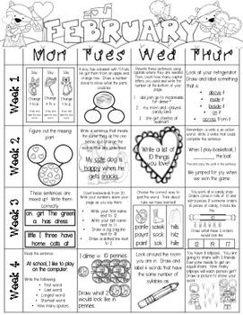 Just Add a Spiral Notebook: February Kindergarten Homework - NWEA MAP Skills