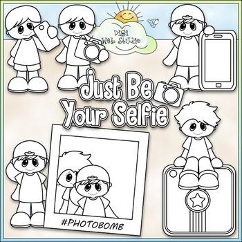 Just Be Your Selfie Clip Art - Photo Clip Art - CU Clip Art & B&W