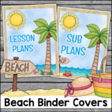 Beach Theme Binder Covers and Spines EDITABLE