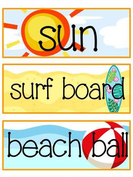 Just Beachy - Word Wall Cards