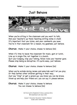 Just Behave Companion Lyrics Sheet