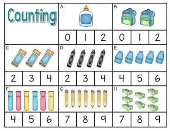 Clip It Math and Literacy Centers for kindergarten
