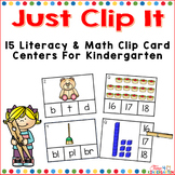 Clip It Math and Literacy Clothespin Centers for Kindergarten