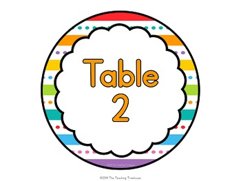 """""""Just Colors"""" Center Signs & Table Numbers"""