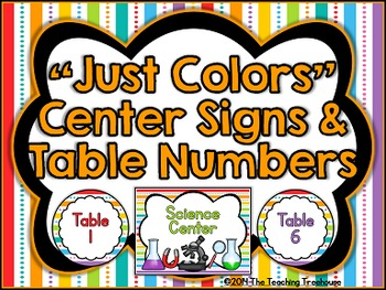 """Just Colors"" Center Signs & Table Numbers"