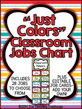 """""""Just Colors"""" Classroom Helpers Clip Chart ~ Jobs Chart"""