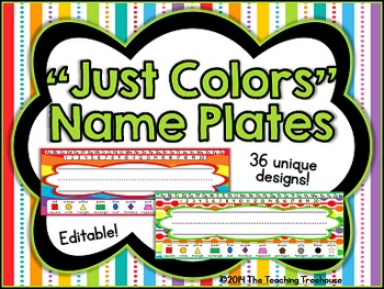 """Just Colors"" Editable Desk Name Plates"