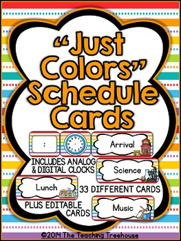 """Just Colors"" Schedule Cards"